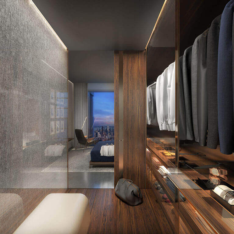 The One Condos Bedroom Closet Rendering
