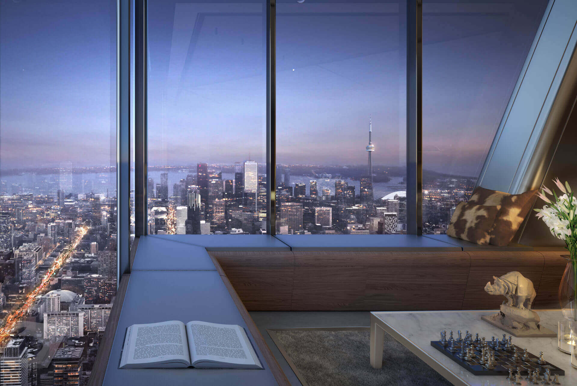 The One Condos Living Room View Rendering