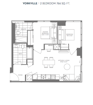 Yorkville 2 Bed 766 sqft