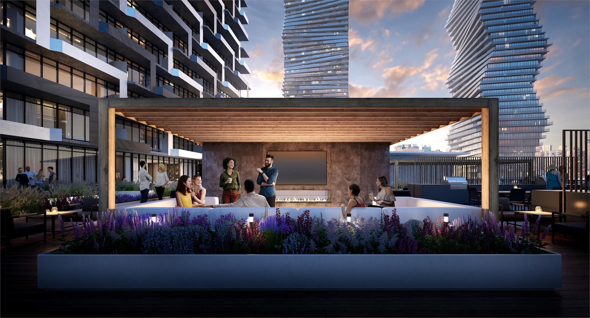 M city 3 Outdoor Fireplace Lounge